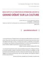 Grand débat sur la culture, du 18 février au 15 mars 2019