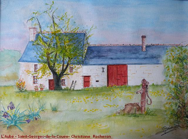 L'Aubé- Saint-Georges-de-la-Couée - aquarelle - Christiane Rocheron